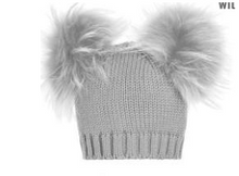 Load image into Gallery viewer, Baby Double Raccoon Fur Pom Pom Beanie