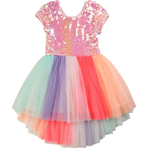 Billieblush Short Sleeve Sequin Tulle Dress