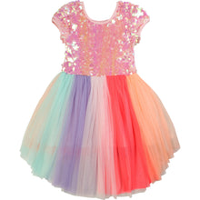 Load image into Gallery viewer, Billieblush Short Sleeve Sequin Tulle Dress