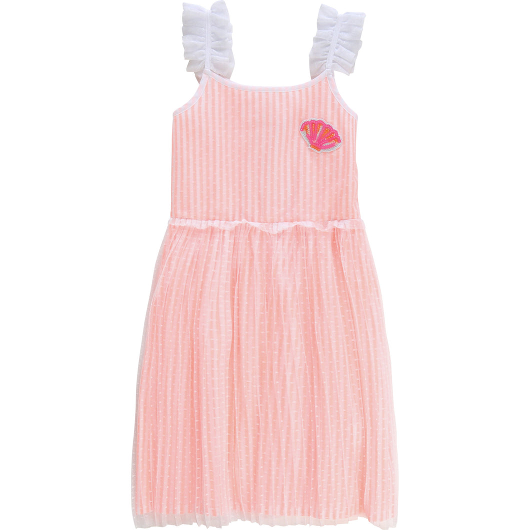 Billieblush Striped Dress with Pleated Mesh Overlay and Shell
