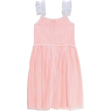 Load image into Gallery viewer, Billieblush Striped Dress with Pleated Mesh Overlay and Shell