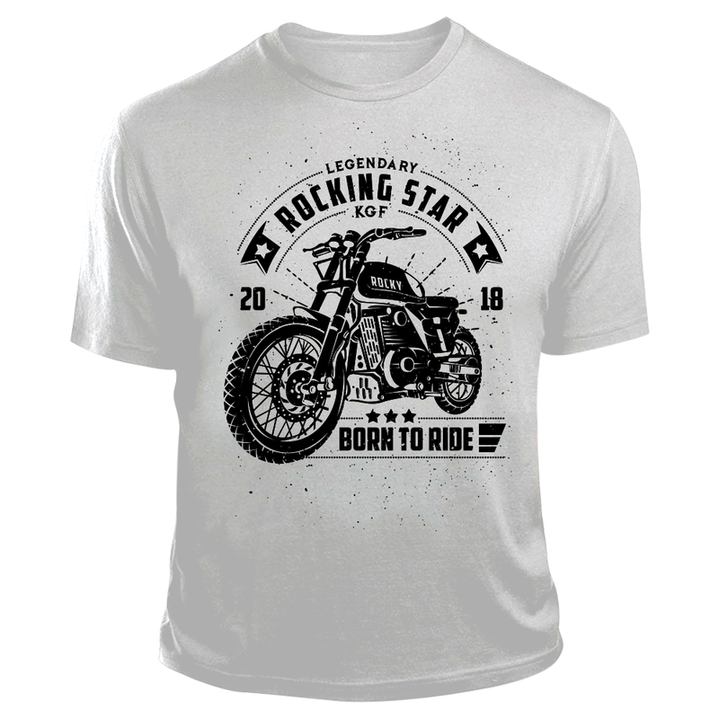 KGF Yash TShirt | Rocky Bike Black on White | Born To Ride Bikers T-Shirt - Benki Store