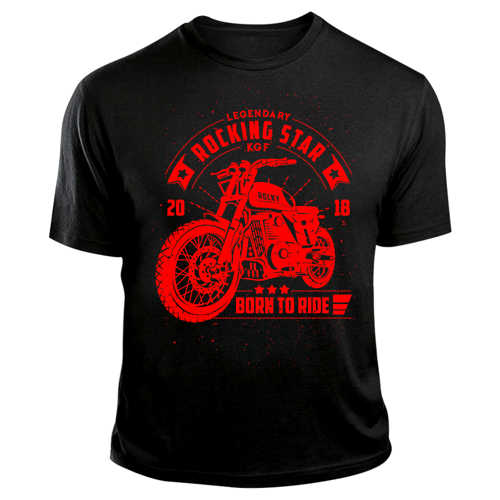 KGF Yash TShirt | Rocky Bike Red on Black | Born To Ride Bikers T-Shirt - Benki Store