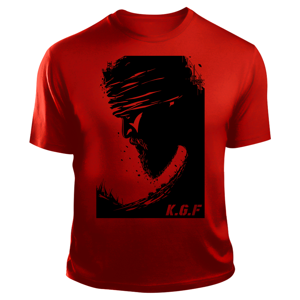 Rocking Star Yash TShirt | KGF TShirt | Black on Red - Benki Store