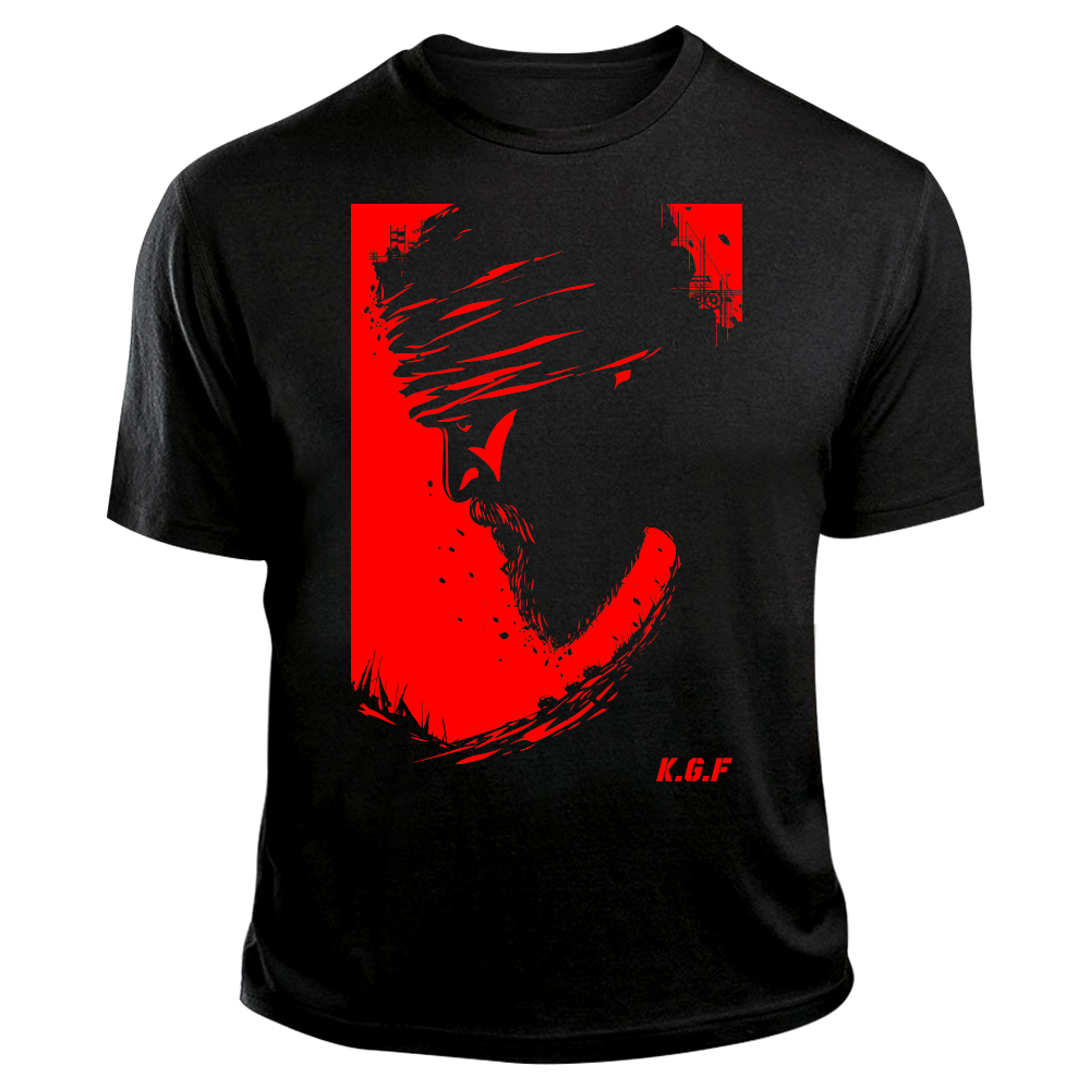 Rocking Star Yash TShirt | KGF TShirt | Red on Black - Benki Store