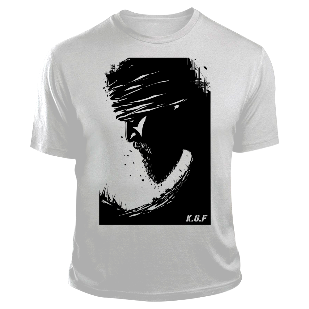 Rocking Star Yash TShirt | KGF TShirt | Black on White - Benki Store