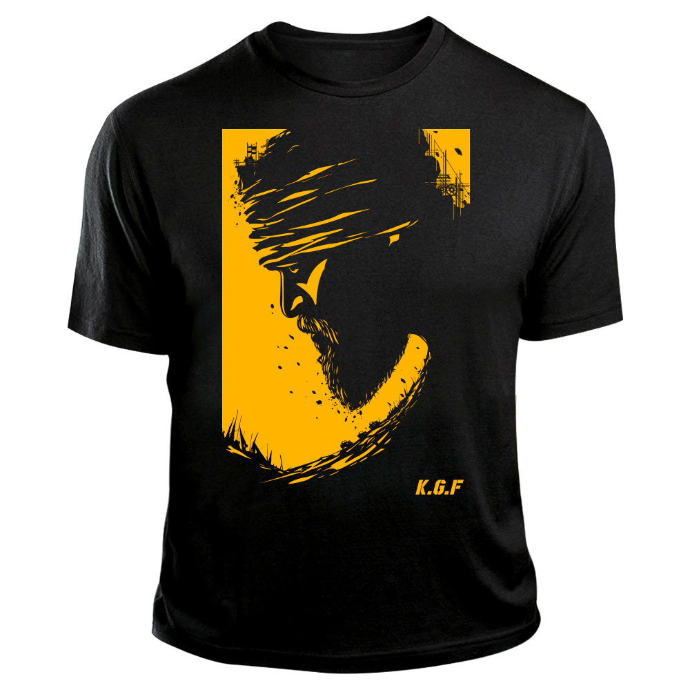 Rocking Star Yash TShirt | KGF TShirt | Yellow on Black - Benki Store