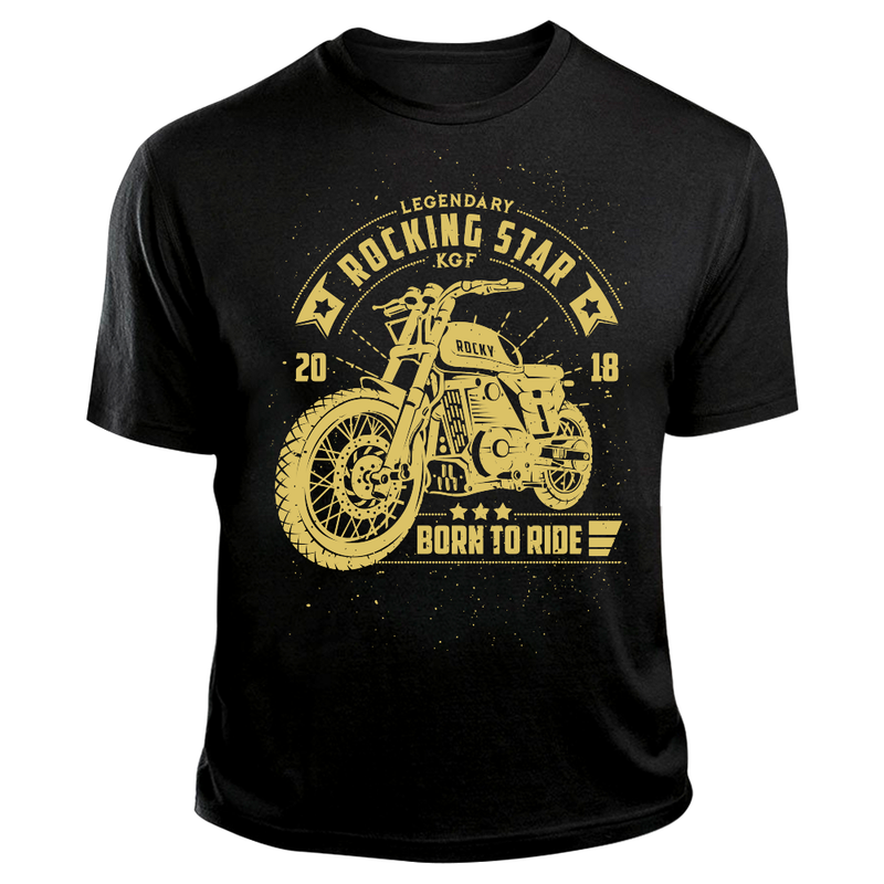 KGF Yash TShirt | Rocky Bike Cream on Black | Born To Ride Bikers T-Shirt - Benki Store