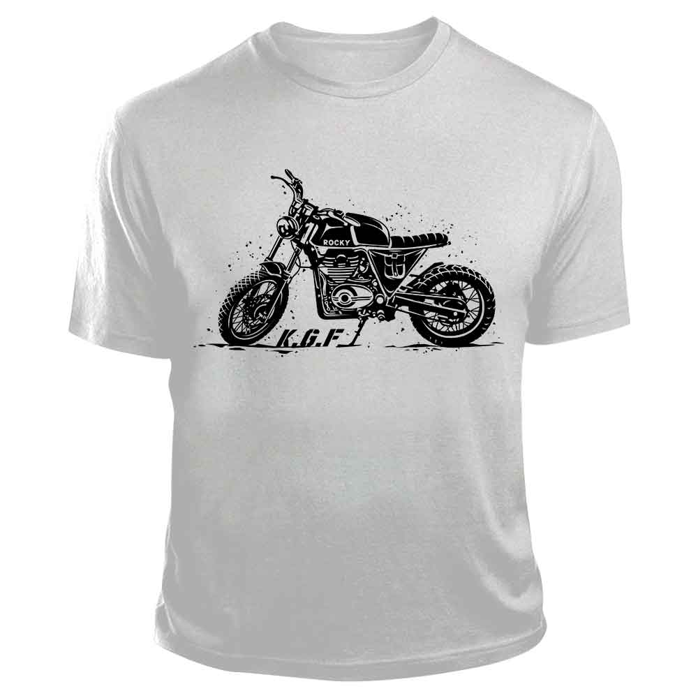 Rocky Bike TShirt | KGF Yash Tshirt | Black on White - Benki Store