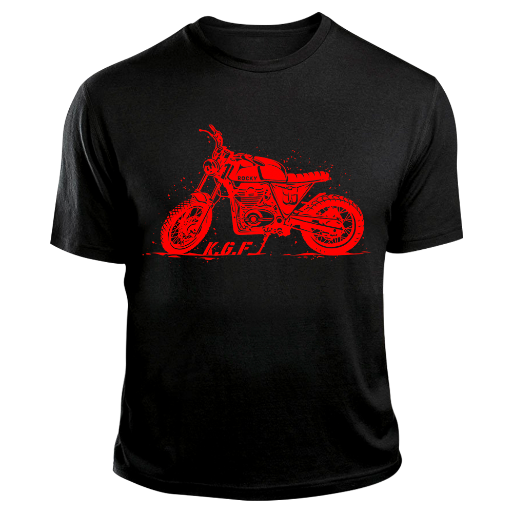 Rocky Bike TShirt | KGF Yash Tshirt | Red on Black - Benki Store