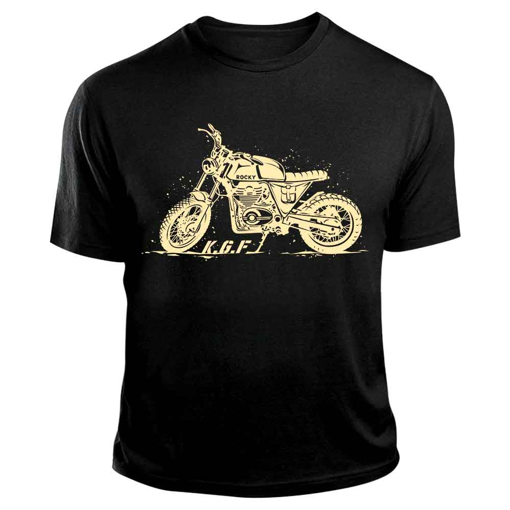 Rocky Bike TShirt | KGF Yash Tshirt | Cream on Black - Benki Store