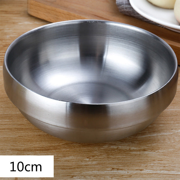 Double thick stainless steel bowl
