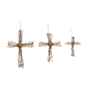 Metal Beaded Cross w/Heart