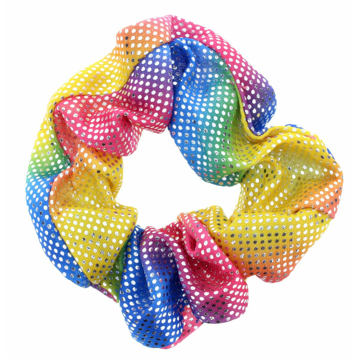 KIDS RAINBOW WITH METTALIC DOTS SCRUNCHIE