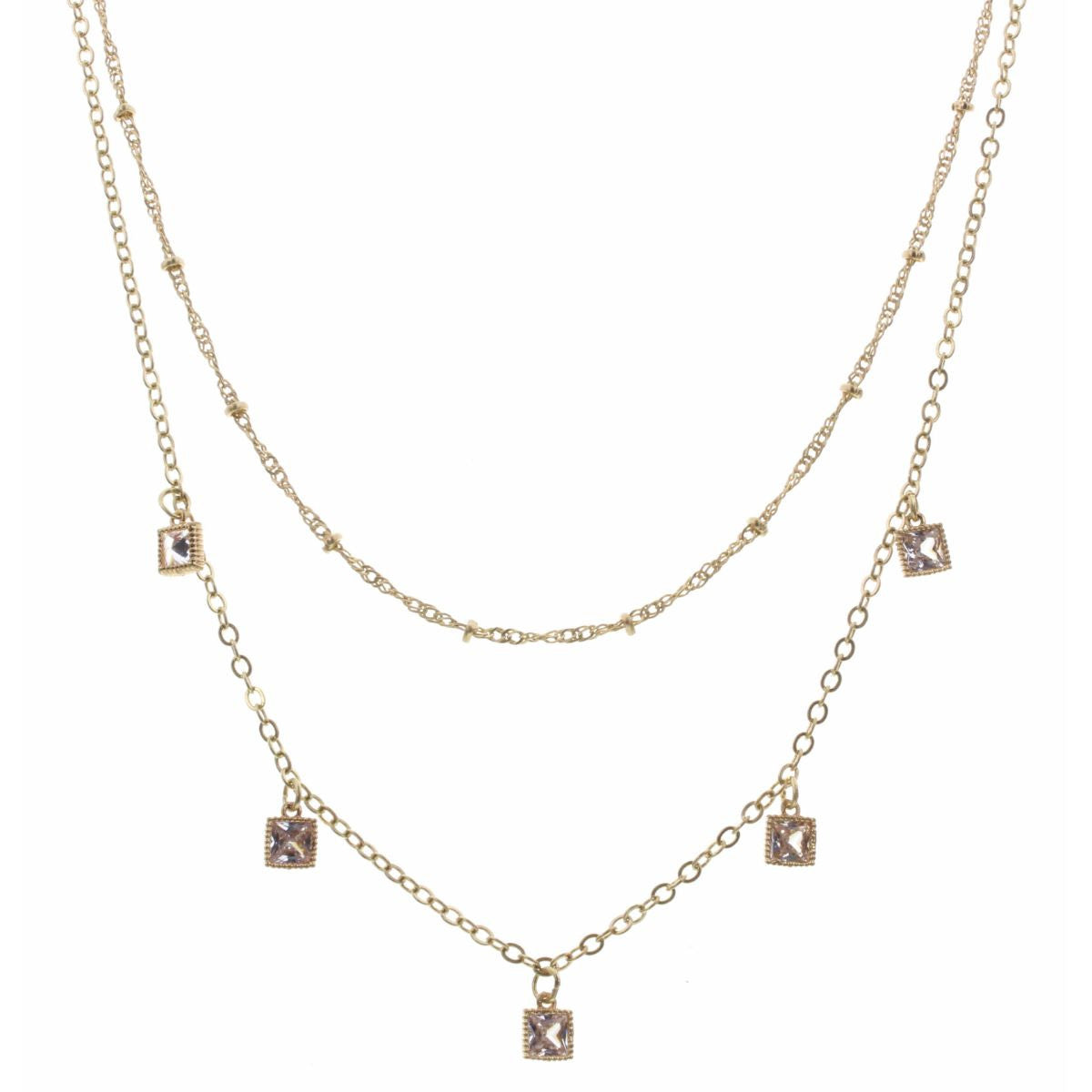 "16"" DOUBLE LAYER SQUARE RHINESTONE NECKLACE"