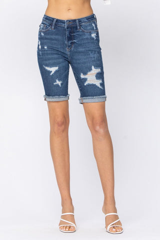 Destroyed Bermuda Cuffed Shorts