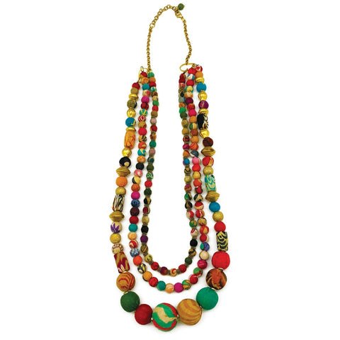 Triple Strand Mixed Beads Aasha Necklace