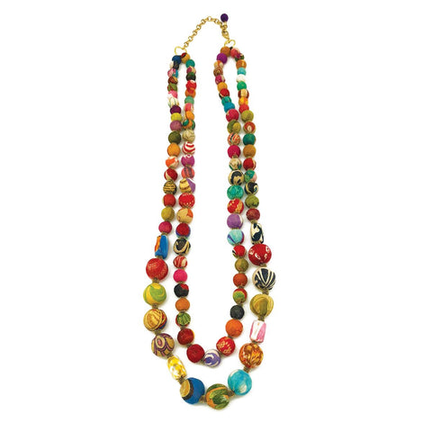 Aasha Necklace Dual Strand Medium and Large Beads