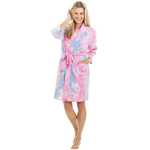 Pink And Blue Tie Dye Women's Robe
