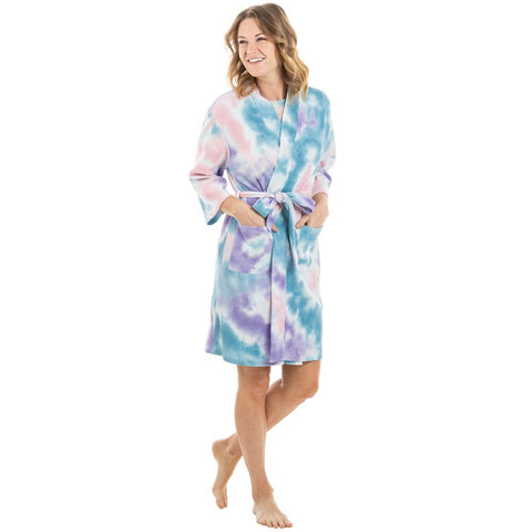 Teal, Peach, Purple Tie Die Robe
