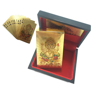 24K Gold Plated Indian God Playing Cards