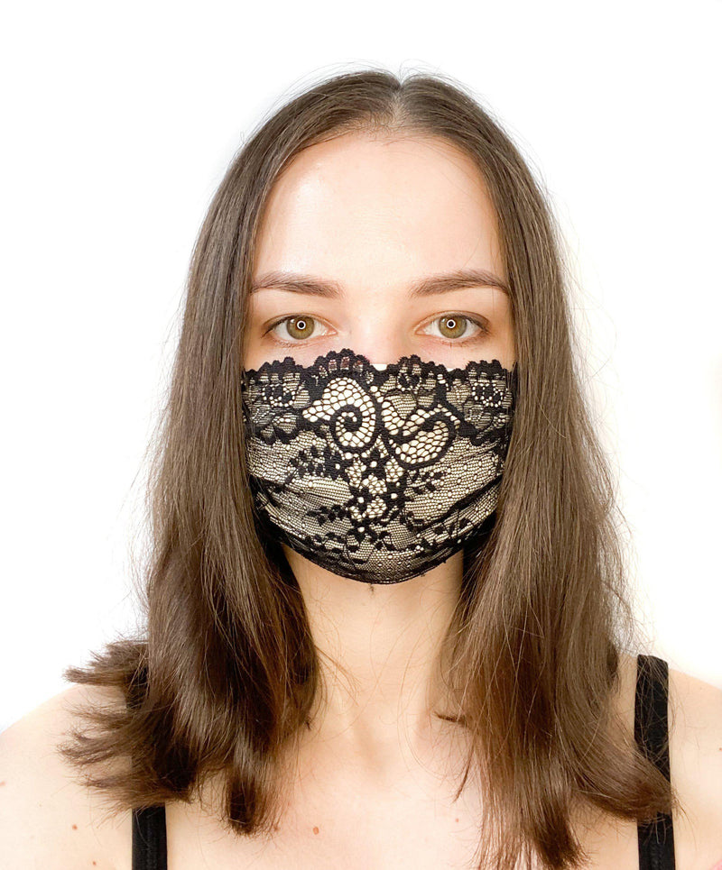 A girl wearing a custom size organic cotton face mask in premium black lace fabric
