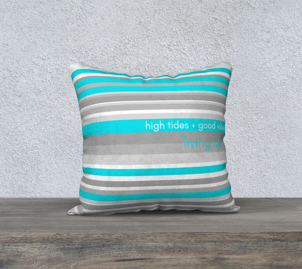 High Tides Turquoise & Gray Stripe Cotton Linen