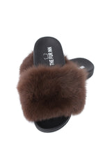 Mocha Fox Fur Sliders