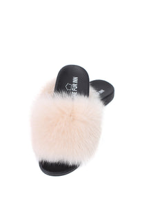 Ecru Fox Fur Sliders