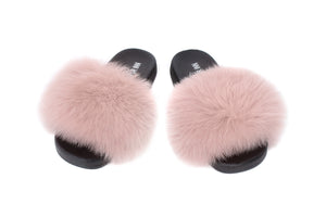 Mink Fox Fur Sliders