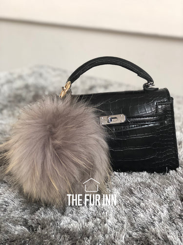 Grey Fox Fur Bag Charm