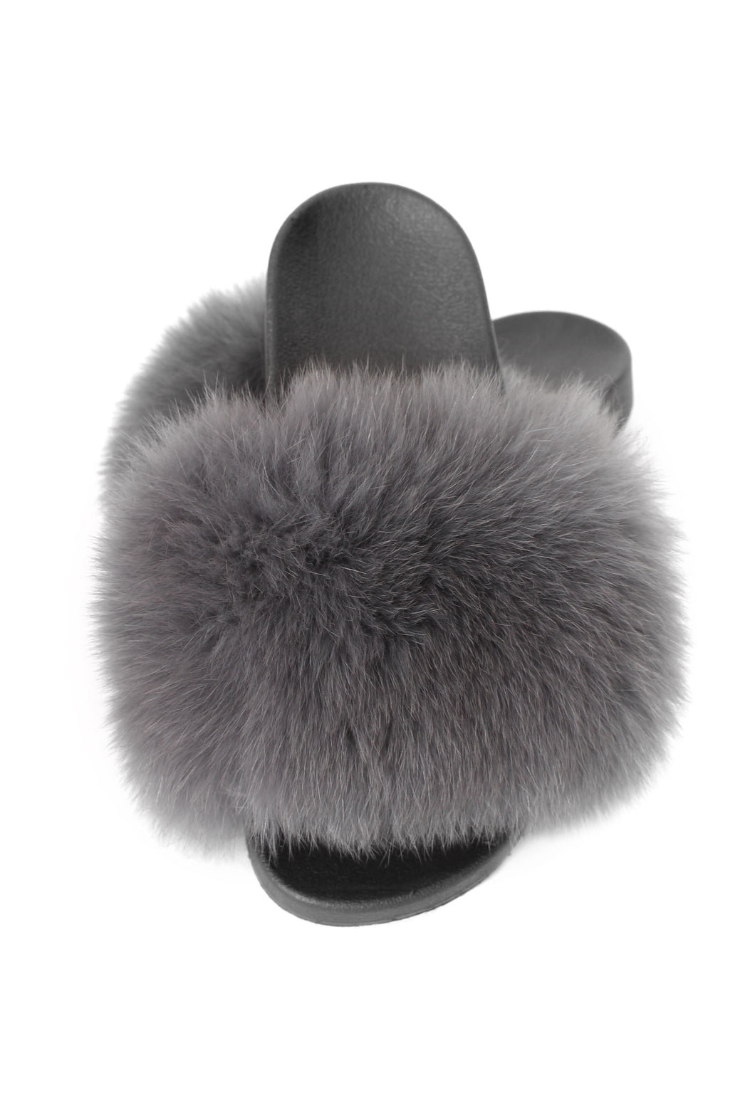 Grey Fox Fur Sliders