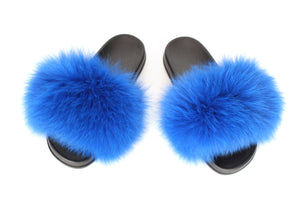 Royal Blue Fox Fur Sliders