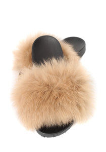 Camel Fox Fur Sliders