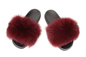 Wine Red Fox Fur Sliders