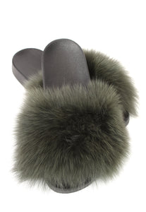 Khaki Fox Fur Sliders