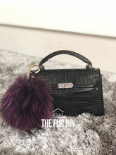 Purple Fox Fur Bag Charm