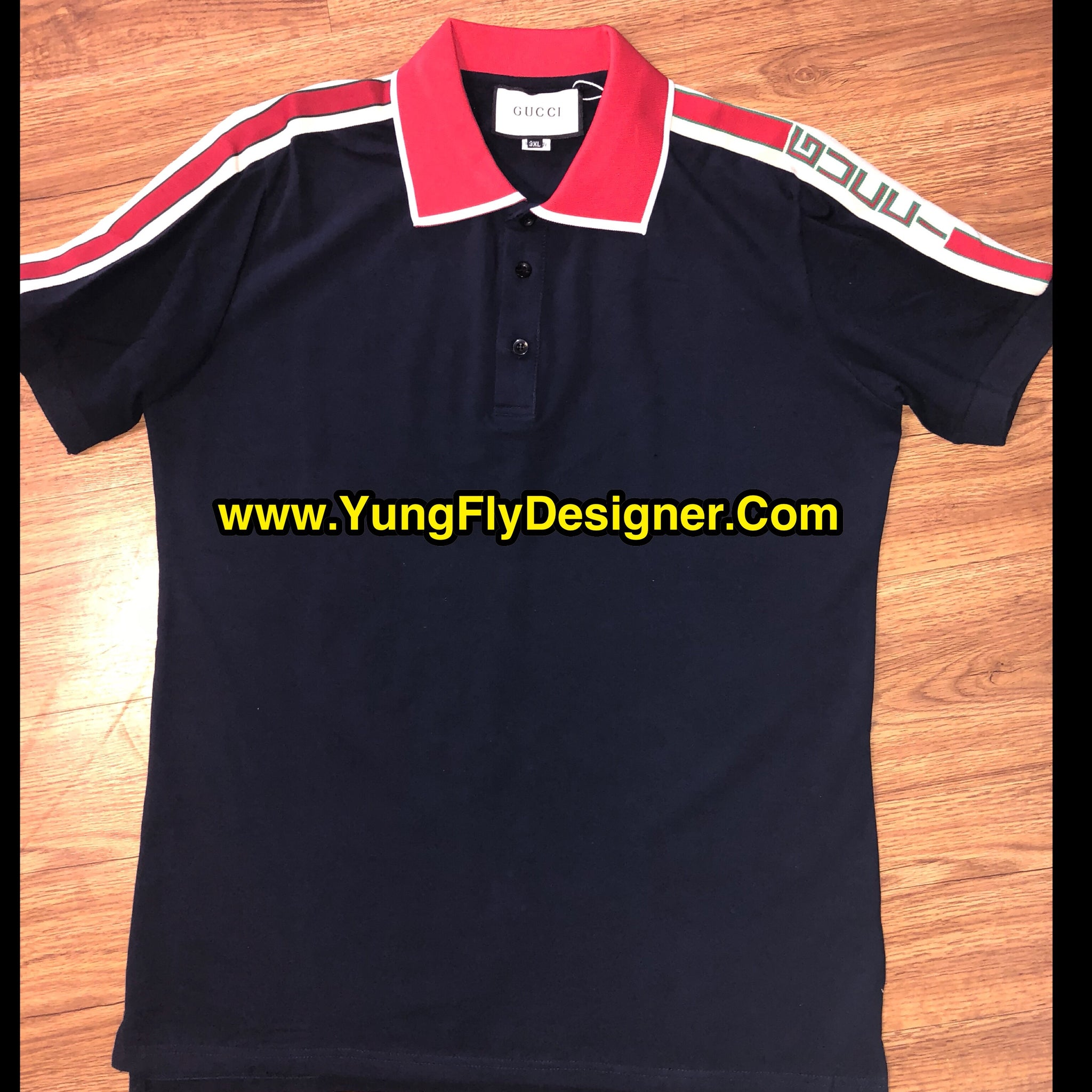 4d49494e Navy Blue Cotton Polo With Gucci Stripe - $95.00 – Young Fly Designer