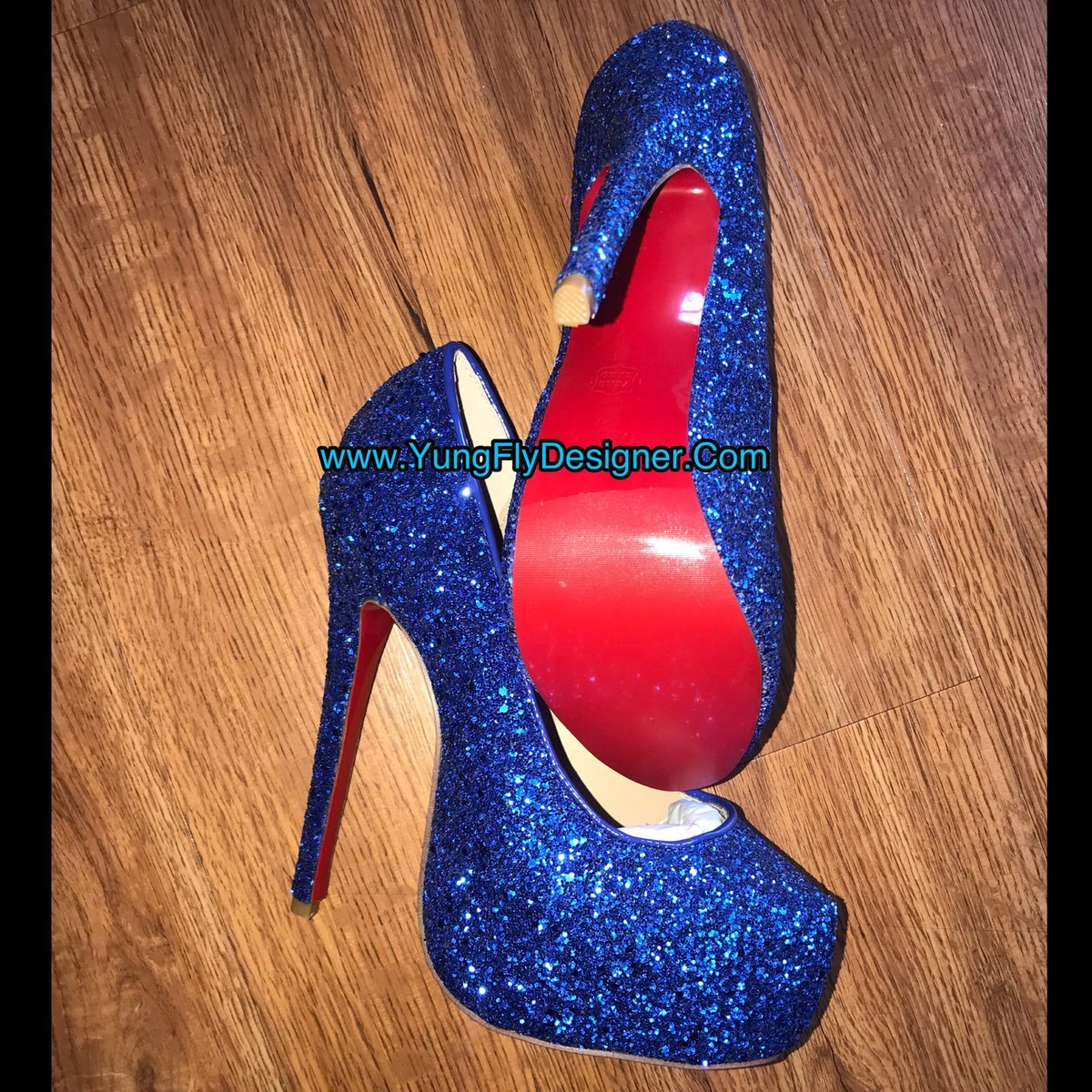e64d59f1683 Blue Red Bottom Heels -  300.00 – Young Fly Designer