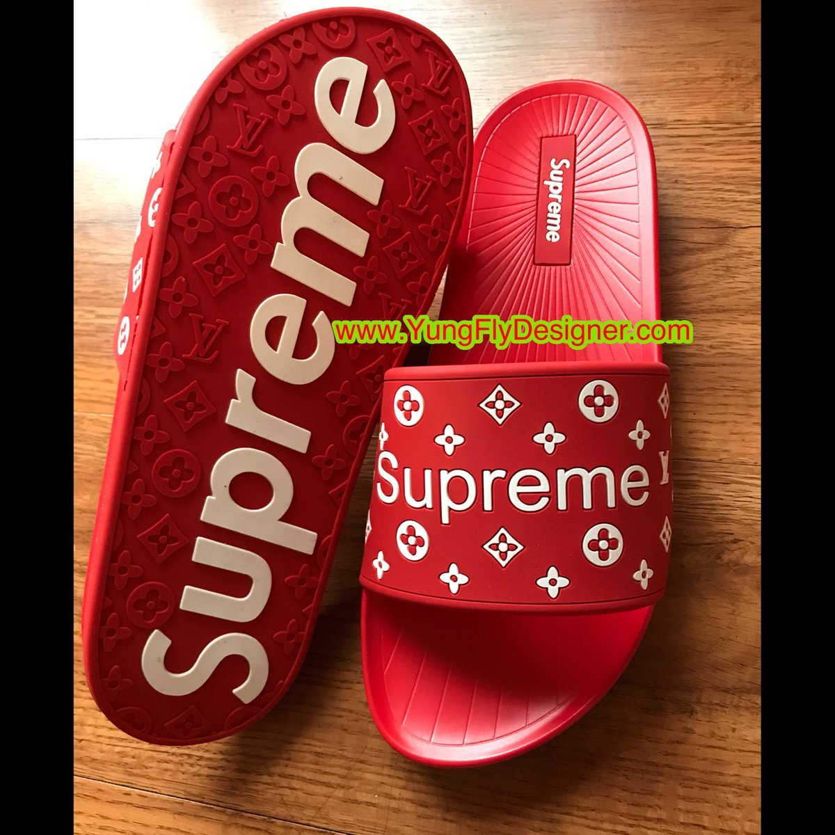 0215ddc5d0b3 Red Louis Vuitton Supreme Slippers -  115.00 – Young Fly Designer