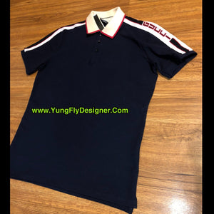3701bfdd7 Navy Blue Gucci Polo Shoulder Stripe - $95.00 – Young Fly Designer