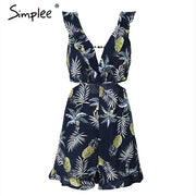 Simplee Sexy ruffle floral print jumpsuit