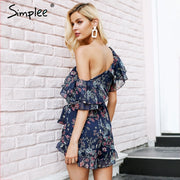 Sexy Floral Print Chiffon Jumpsuit