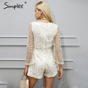 Simplee Sexy lace gold sequin jumpsuit
