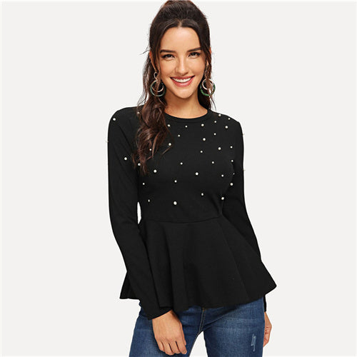 Black Pearls Beaded Solid Peplum Top