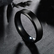 Titanium Steel Black Finger Rings Set