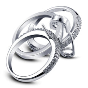 Wide Silver Finger Rings Set