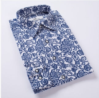 Floral Print Slim Fit Shirts Men's