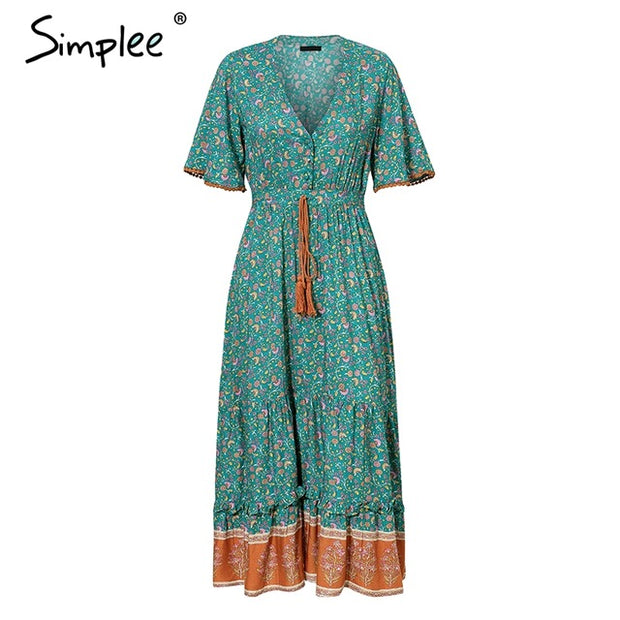 Simplee Bohemian print summer dress