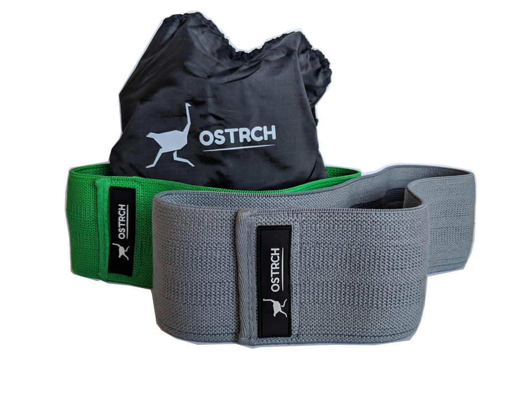 Ostrch Resistance Hip Bands - Pack of 2 Grey and Green Non Slip Cloth Exercise Bands